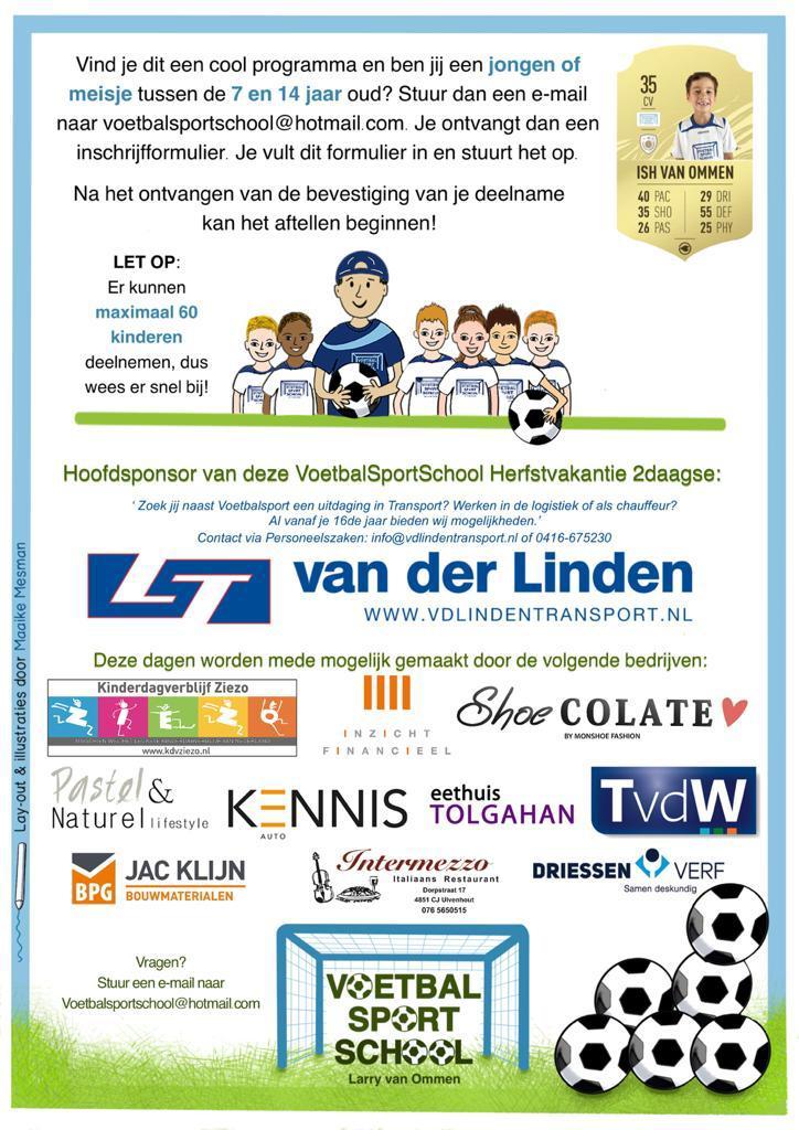 Promotie flyer Voetbalsportschool voor social media